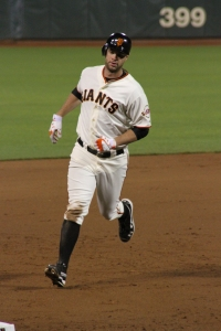 Brandon Belt Rounds Third After His Home Run