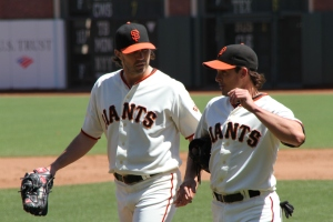 Barry Zito and Ryan Theriot
