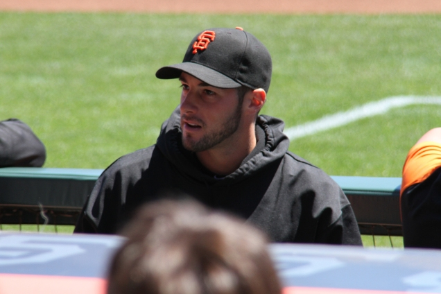 George Kontos in the dugout