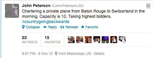John Peterson Tweet
