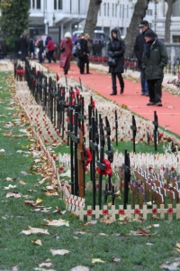 Poppy tribute to war veterans, outside Westminster Abbey