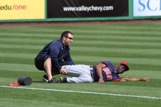 Cleveland Indians center fielder Michael Bourn gets loose before the game vs. the Giants.
