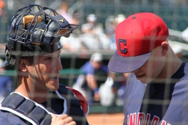 Indians pitcher Justin Masterson and catcher Yan Gomes