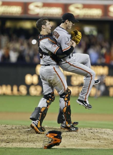 Buster Posey bear hugs Tim Lincecum after his no hitter,  July 14 2013.