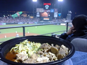 A cha cha bowl, courtesy of Orlando's Caribbean BBQ at AT&T Park. (Photo by The Travelling Hungryboy)