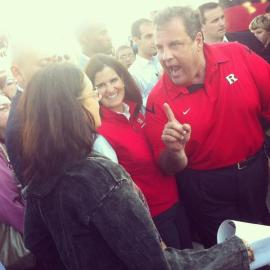 Governor Chris Christie shouts down a New Jersey teacher on the campaign trail in 2012