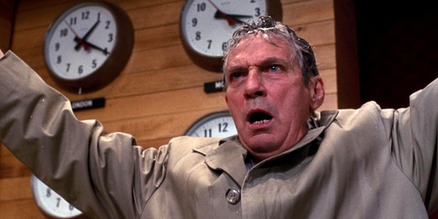 "Howard Beale (Peter Finch)  loses is grip in the 1976 United Artist film ""Network""."