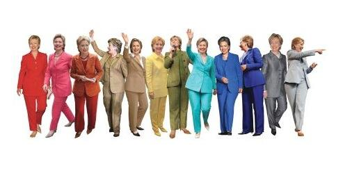Hillary Clinton in various pants suits