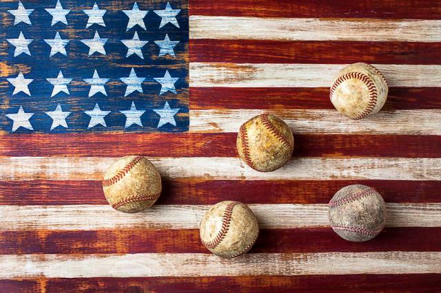 """""""Old Baseballs On Folk Art Flag"""" by Gary Gay."""