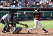 San Francisco Giants catcher Buster Posey at the plate, Spring Training, Scottsdale AZ. March 15, 2014.