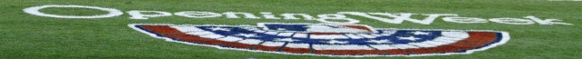 2014 MLB Opening Week stencil on the field at Oakland Coliseum. April 2, 2014