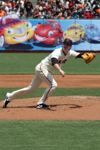San Francisco Giants pitcher Tim Lincecum on the mound at AT&t Park. April 26, 2014