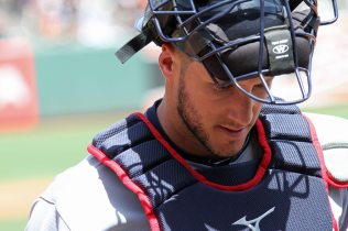 Cleveland Indians catcher Yan Gomes returns to the visitors dugout at AT&T Park. April 26, 2014.