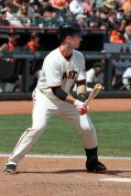 San Francisco Giants catcher Buster Posey at the plate. AT&T Park. April 26, 2014.