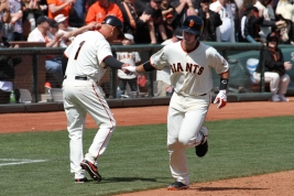 San Francisco Giants catcher Buster Posey rounds the bases after home run at AT&T Park. april 26, 2014