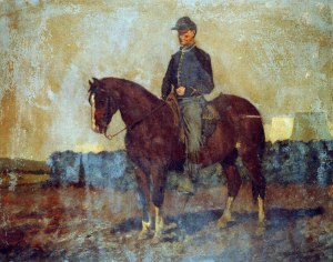 Cavalry orderly, Rappahannock Station, Virginia. (Painting by Edwin Forbes)