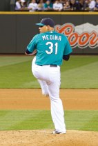 Mariners reliever Yoervis Medina at Safeco Field. Seattle, WA. (June 27, 2014)