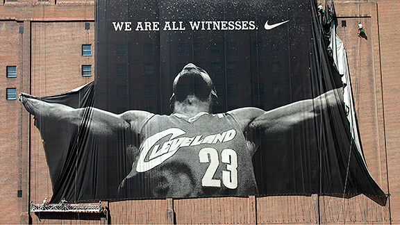 "LeBron James Nike ""We Are All Witnesses"" billboard hanging from a building in Cleveland, Ohio"