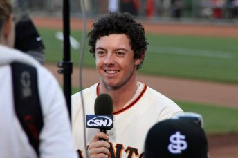 Rory McIlroy gives a pre-game interview to CSN Bay Area, before throwing out the first pitch at a San Francisco Giants game at AT&T Park. (June 2, 2012)