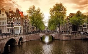 Row of canal houses in Amsterdam, The Netherlands