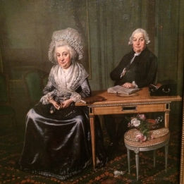 Wybrand Hendriks portrait of Jacob Feitama and his wife. His daughter was featured between the couple, but was painted when she eloped with a guard officer from the Hague. The wilting bouquet represents their fallen daughter.