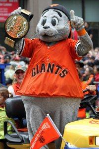 San Francisco Giants mascot Lou Seal at the World Series Victory Parade, October 31, 2014