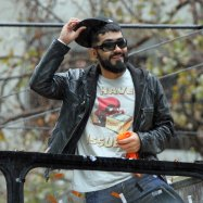 San Francisco Giants reliever Sergio Romo at the World Series Victory Parade, October 31, 2014