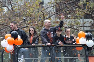 San Francisco Giants pitchers Tim Hudson and Hunter Strickland at the San Francisco Giants World Series victory parade. October 31, 2014.