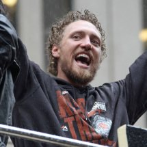 San Francisco Giants outfielder Hunter Pence at the World Series Victory Parade, October 31, 2014