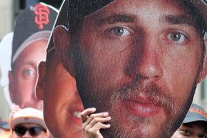 Madison Bumgarner Fathead on display at the World Series victory parade in San Francisco, CA. October 31, 2014