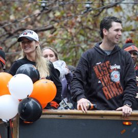 San Francisco Giants catcher Buster Posey at the World Series Victory Parade, October 31, 2014