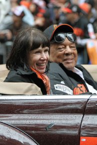 Former San Francisco Giant Willie Mays riding in the World Series parade on October 31, 2014