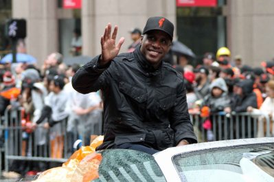 San Francisco Giants veteran Barry Bonds at the World Series Victory Parade, October 31, 2014