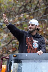 San Francisco Giants reliever George Kontos at the World Series Victory Parade, October 31, 2014