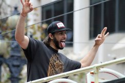 San Francisco Giants outfielder Michael Morse rides in the World Series victory parade on October 31, 2014.