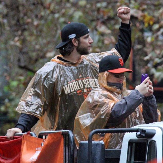 San Francisco Giants pitcher Madison Bumgarner rides in the World Series victory parade on October 31, 2014.