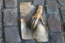 The sidewalk outside Oude Kerk (old church), located in Amsterdam's Red Light District