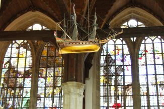 Stained glass windows in the Oude Kerk in Amsterdam, the Netherlands