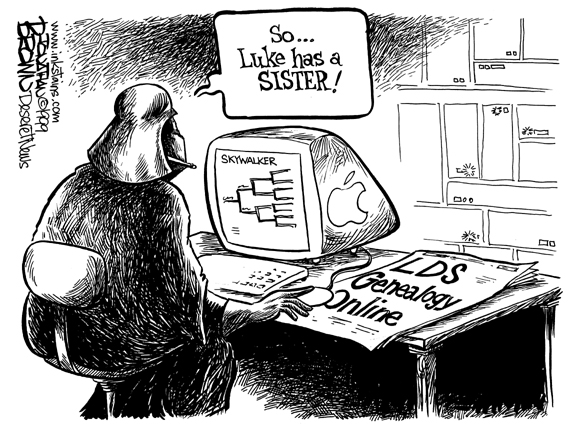 "Cartoon of Darth Vadar in front of a computer screen, researching his family tree. He exclaims ""So, Luke has a sister!"""