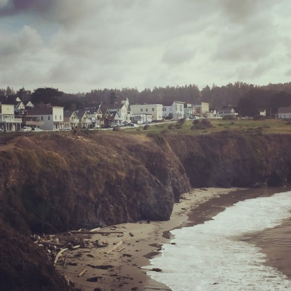 Mendocino, California. View of Main Street from the cliffs.