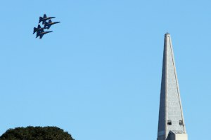 United States Navy Blue Angels near the Transamerica Pyramid. San Francisco Fleet Week 2015.