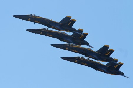 Four of the United States Navy Blue Angels. San Francisco Fleet Week 2015.