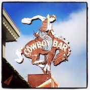 Sign above the Cowboy Bar, Jackson WY
